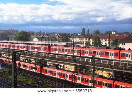 Commuter Rail Trains Frankfurt Germany