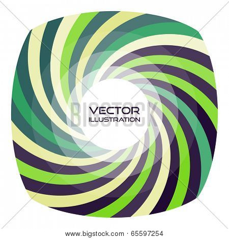 Striped frame with round shaped place for text. Vector swirl background. Template for greeting card.