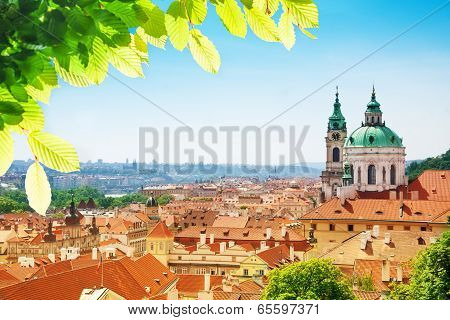 Church of St. Nicholas red tile roofs in Prague