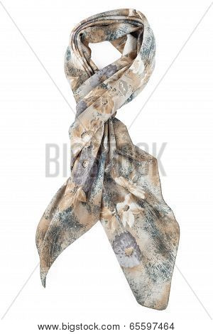 a neckerchief is grey strung on a knot on a white background