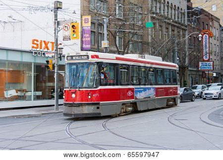 Old Bombardier Streetcar In Toronto
