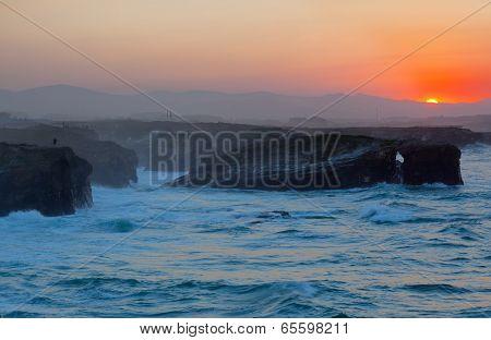 Beautiful sunset on Playa de las Catedrales