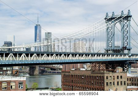 Manhattan Bridge and New York from a Dumbo Brooklyn Rooftop.