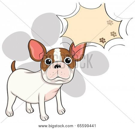 Illustration of a sad bulldog with an empty callout on a white background