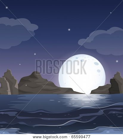 Illustration of a view of the ocean in the middle of the night
