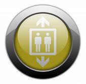 stock photo of elevator icon  - Icon Button Pictogram Illustration Image with Elevator symbol - JPG