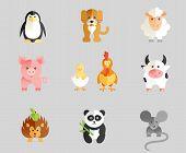 stock photo of zoo animals  - Funny Animal Vector illustration Icon Set of Zoo Animals - JPG