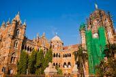 picture of british bombay  - Famous Victoria Terminus train station in Mumbai India - JPG