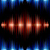 stock photo of waveform  - Seamless pattern with blue and orange sound waveform - JPG