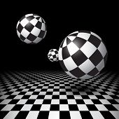 foto of dungeon  - Magic black and white balls over checkered floor - JPG