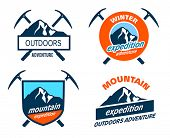 image of snow capped mountains  - Collection of mountain expedition icons - JPG