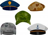 stock photo of headgear  - llustration Featuring Different Types of Hats Associated with the Military - JPG