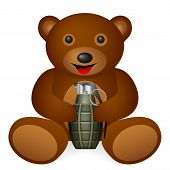 foto of grenades  - Teddy bear grenade on a white background - JPG