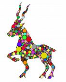 stock photo of capricorn  - illustration of Capricorn composed of colors on white background - JPG