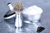 pic of personal hygiene  - Male luxury shaving kit on gray background - JPG