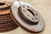 stock photo of spare  - The old disc brake is a spare