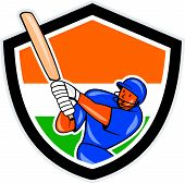 stock photo of cricket bat  - Illustration of a India cricket player batsman with bat batting set inside shield with Indian flag colors done in cartoon style on isolated background - JPG
