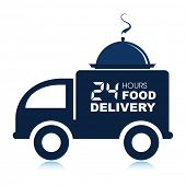 picture of meals wheels  - 24 hours food delivery service van with platter - JPG