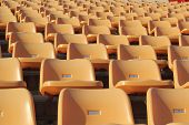 stock photo of grandstand  - Stadium seats for watch some sport or football