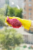 picture of soapy  - hand in yellow rubber glove washing window glass by soapy water - JPG