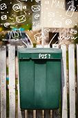 foto of postbox  - Postbox with white hand drawn mail icons - JPG
