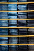 pic of neat  - Neat stacks of folded jeans on the shop shelves - JPG