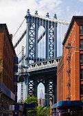 stock photo of tourist-spot  - New York City street scene with bridge and buildings in Brooklyn - JPG