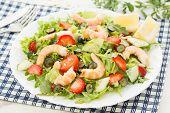 foto of rocket salad  - fresh shrimp salad with lettuce - JPG