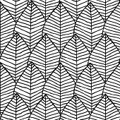 stock photo of primitive  - Primitive structure seamless pattern in black and white is hand drawn ink illustration - JPG