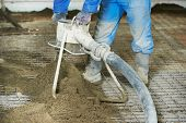 image of floor covering  - Plasterer at indoor floor concrete cement covering - JPG