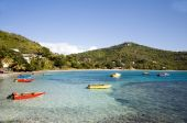 Friendship Bay With Colorful Native Fishing Boats Bequia