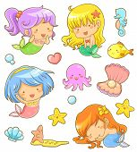 stock photo of shell-fishes  - collection of adorable mermaids and related icons - JPG