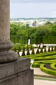 stock photo of versaille  - Versailles garden with the column on the first position - JPG