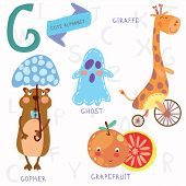 stock photo of gopher  - Alphabet design in a colorful style - JPG