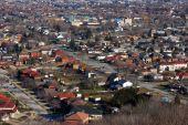 stock photo of subdivision  - aerial view of houses in an urban subdivision - JPG