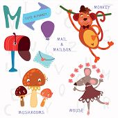 foto of baby-monkey  - Alphabet design in a colorful style - JPG