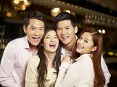 pic of singapore night  - young asian friends couples enjoying party in pub - JPG