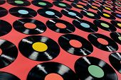 picture of lps  - Colorful collection of vinyl records - JPG