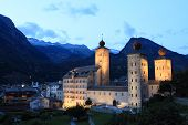 stock photo of brig  - Brig at twilight near lake Geneva - JPG