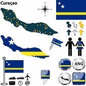 stock photo of curacao  - Vector of Curacao set with detailed map flags and icons - JPG