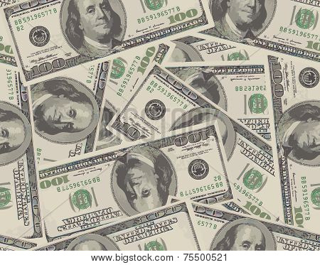 Seamless background from 100 dollar banknotes