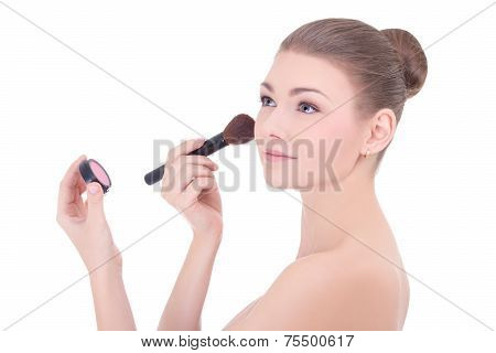 Portrait Of Young Beautiful Woman With Make Up Brush Applying Rouge Or Powder Isolated On White