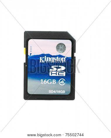 Hayward, CA - October 27. 2014: 16GB Kingston SDHC  card