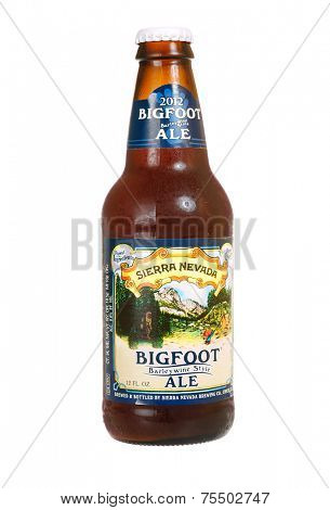 Hayward, CA - October 27. 2014: 12 fl oz Sierra Nevada brand Bigfoot Barley Wine style Ale