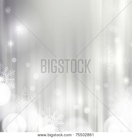 Christmas silver festive background  with stars and bokeh lights