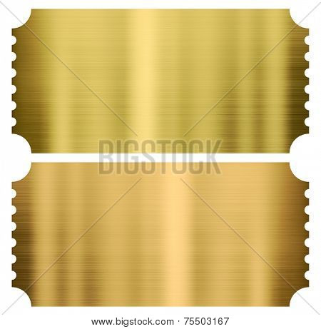 gold cinema or theather tickets set isolated on white