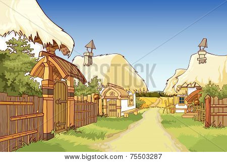Cartoon Village Street With Houses.