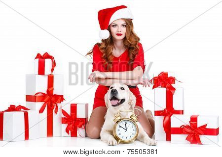 The snow maiden with a dog on the background of Christmas gifts.