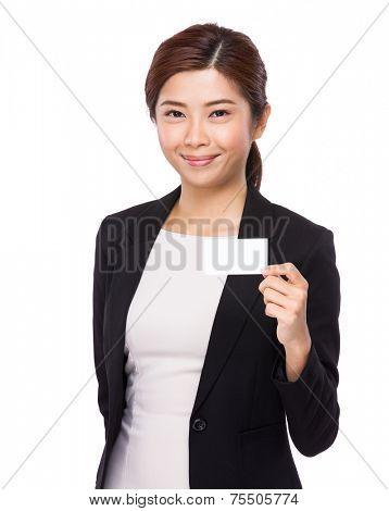 Businesswoman hold with white namecard