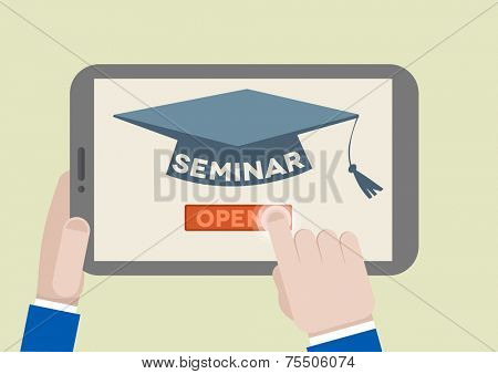 minimalistic illustration of a tablet computer with seminar scholar hat and hand pushing the join button, eps10 vector